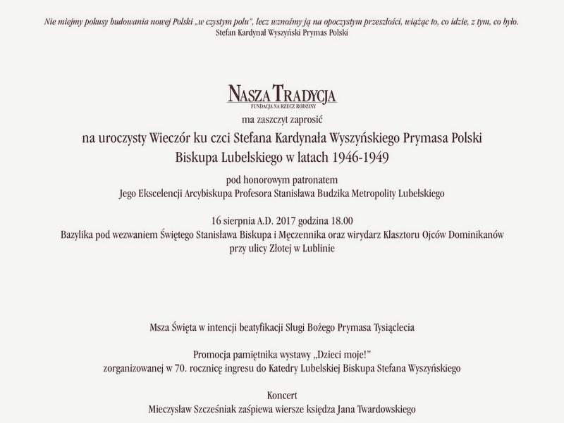 Wieczór Ku Czci Stefana Kardynała Wyszyńskiego 16082017